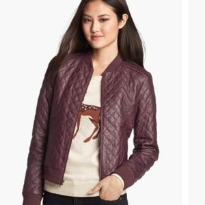 Halogen Deep Purple quilted leather bomber jacket